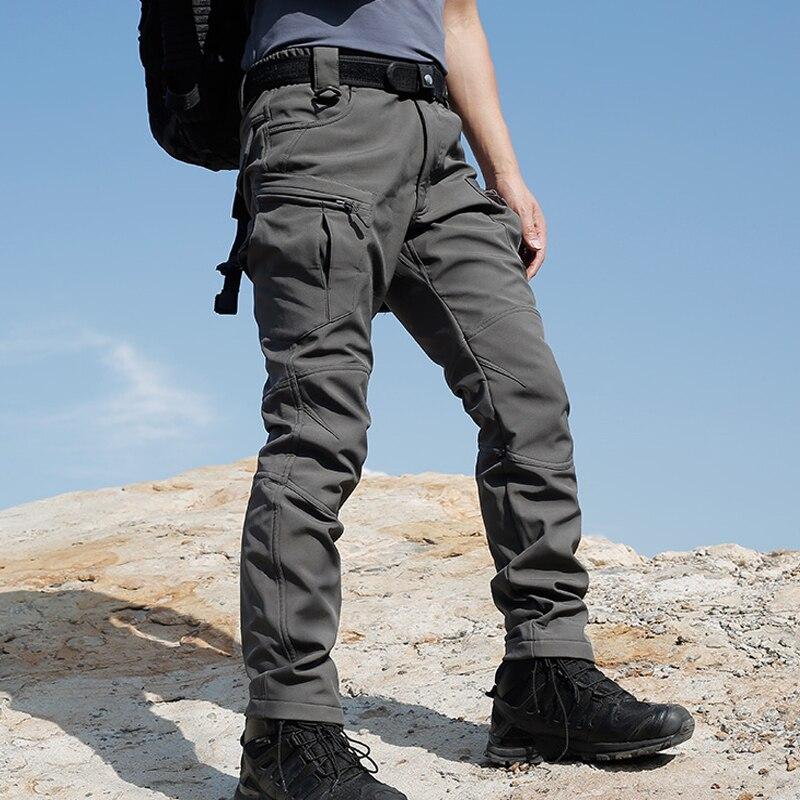Sharkskin Men New Tactical Army Combat Military Camp Fish Hike Trek Climb Outdoor softshell waterproof pants Ski Trousers Fleece